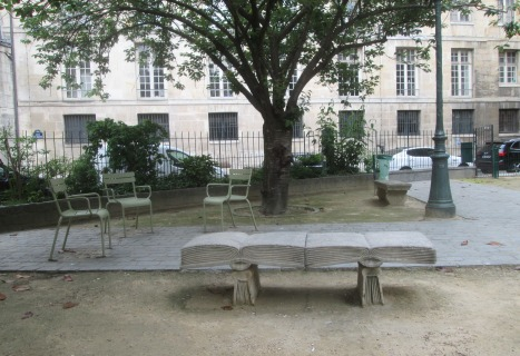 Benches in the shape of an open book, Square Gabriel-Pierné, Paris